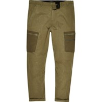 River Island Mens Khaki Green Skinny Fit Cargo Trousers