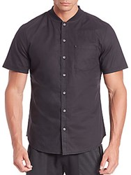 Madison Supply Short Sleeve Baseball Collar Shirt Caviar
