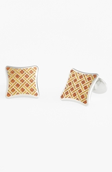David Donahue Enamel And Sterling Silver Cuff Links Silver Burnt Orange Gold