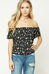 Forever 21 Floral Foliage Print Crop Top Black Red