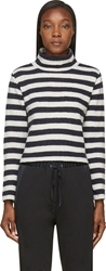 Nlst Navy And White Cropped Striped Turtleneck