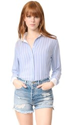 Rails Avery Button Down Shirt Powder Blue White Stripes