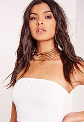 Missguided Layered Rope Chain Choker Gold Gold