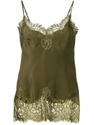 Gold Hawk Lace Panel Top Green