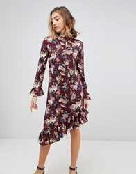 Walter Baker Gayle Asymmetric Hem Floral Print Dress Victorian Rose Red