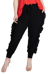 Rachel Roy Plus Size Ruffle Track Pants Black