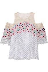Peter Pilotto Cutout Guipure Lace Trimmed Printed Silk Georgette Top White Pink