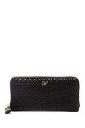 Diane Von Furstenberg Chainlink Quilted Leather Wallet Black