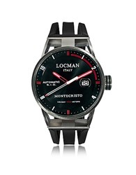 Locman Montecristo Stainless Steel And Titanium Automatic Men's Watch W Silicone Strap Black