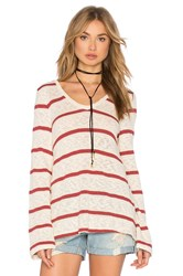 Splendid Tucson Striped Loose Knit Top Ivory