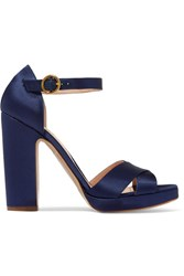 Rupert Sanderson Savanna Satin Sandals Navy