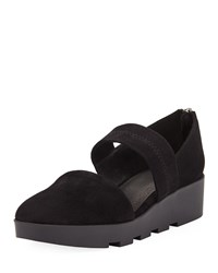 Eileen Fisher Marlow Suede Wedge Mary Jane Pumps Black
