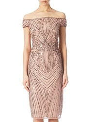 Adrianna Papell Petite Off Shoulder Beaded Cocktail Dress Rose Gold