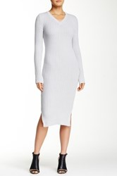 Romeo And Juliet Couture Bodycon Ribbed Sweater Dress Gray