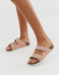 London Rebel Double Buckle Flat Sandals Beige