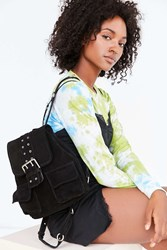 Urban Outfitters Nika Suede Grommet Backpack Black