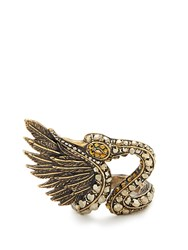 Lanvin Crystal Embellished Swan Ring Gold
