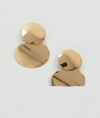 Monki Double Rounded Plate Earrings In Gold Silver