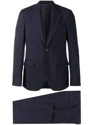 Versace Pinstriped Two Piece Suit Blue