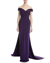 Pamella Roland Off The Shoulder Stretch Crepe Evening Gown W Crystal Beading Purple Pattern