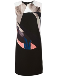 Victoria Victoria Beckham Digital Print Shift Dress Black