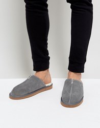 Dunlop Slip On Suede Slippers Grey
