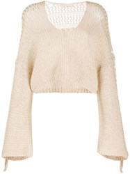 Mes Demoiselles Fringed Sleeve Cropped Top Neutrals