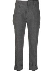 Tela Cropped Tailored Trousers Grey