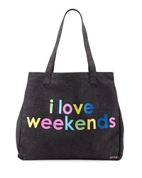 Peace Love World Graphic Oversized Canvas Tote Bag Washed Black Week