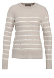 Oasis Stripe Perfect Crew Jumper Neutral Gold Nude