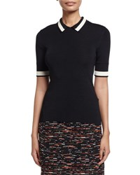 Grey By Jason Wu Short Sleeve Contrast Striped Ribbed Knit Polo Black Bone