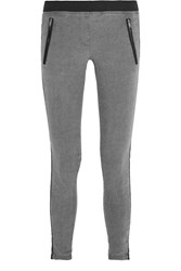 Dkny Two Tone Stretch Linen Blend Skinny Pants Gray