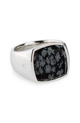 Tom Wood Women's Snowflake Obsidian Cushion Signet Ring