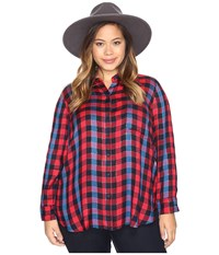 Lucky Brand Plus Size Back Overlay Shirt Red Multi Women's Clothing