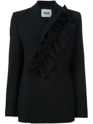Msgm Ruffle Detail Suit Jacket Black