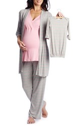 Everly Grey Women's Roxanne During And After 5 Piece Maternity Sleepwear Set Rose Bud
