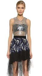 Rodarte Iridescent Sequin Tank Black