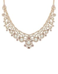 Givenchy 2Mm 14Mm Faux Pearl And Swarovski Crystal Drama Collar Necklace Gold