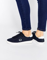 Fred Perry Spencer Navy Canvas Trainers Navy Sky Blue