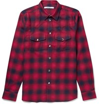 Givenchy Slim Fit Checked Cotton Flannel Western Shirt Red