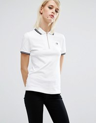 Fred Perry Zip Neck Pique Shirt White