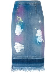 Marco Bologna Distressed Denim Pencil Skirt Blue