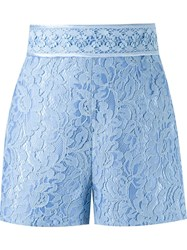 Martha Medeiros High Waisted Lace Shorts Blue