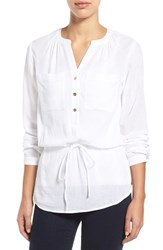 Women's Michael Michael Kors Cotton Gauze Drawstring Waist Blouse White