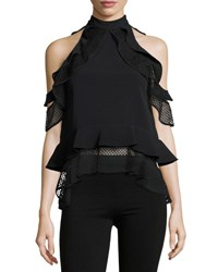 Jonathan Simkhai Windowpane Lace Tiered Ruffle Top Black