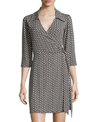 Laundry By Shelli Segal Celtic Braid 3 4 Sleeve Wrap Dress Black White