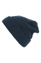Hinge Women's Slouchy Cuff Beanie Blue Navy Midnight