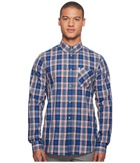 Ben Sherman Long Sleeve Crepe Texture Check Shirt Blue Men's Long Sleeve Button Up