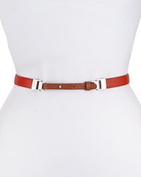 Lafayette 148 New York Two Tone Skinny Leather Belt Mandarin