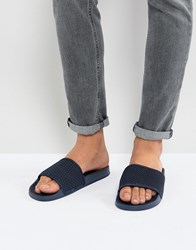 7X Quilted Sliders In Navy Blue
